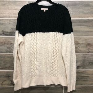 Banana Republic Black and White Cable Knit Sweater